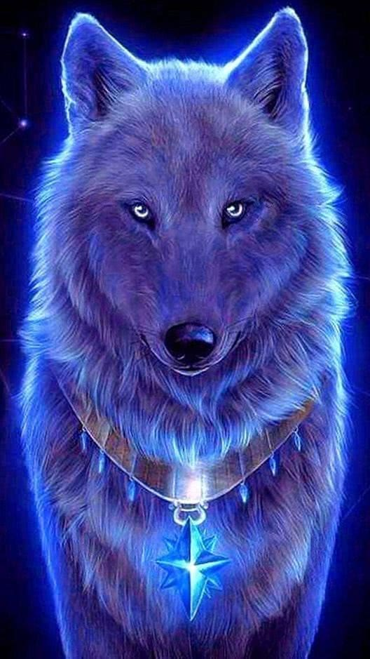 Cool Blue Wolf Wallpaper