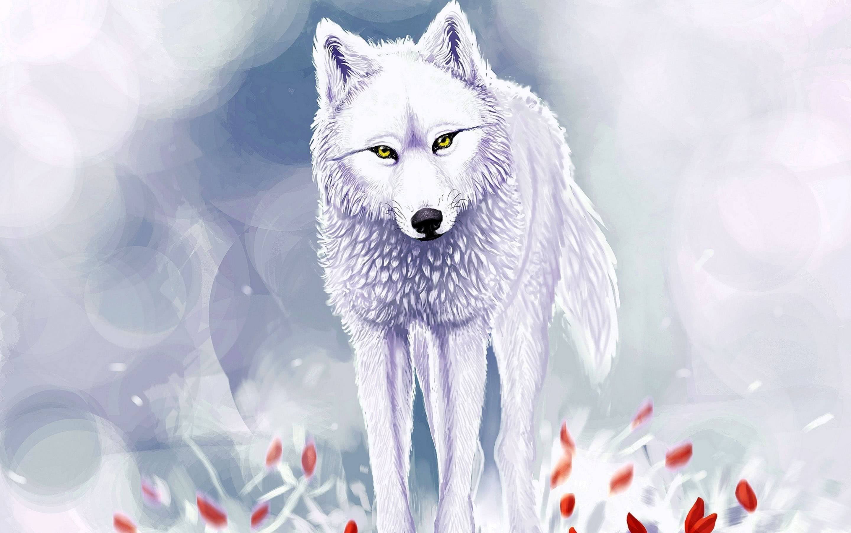 Wolf With Flower Wallpaper