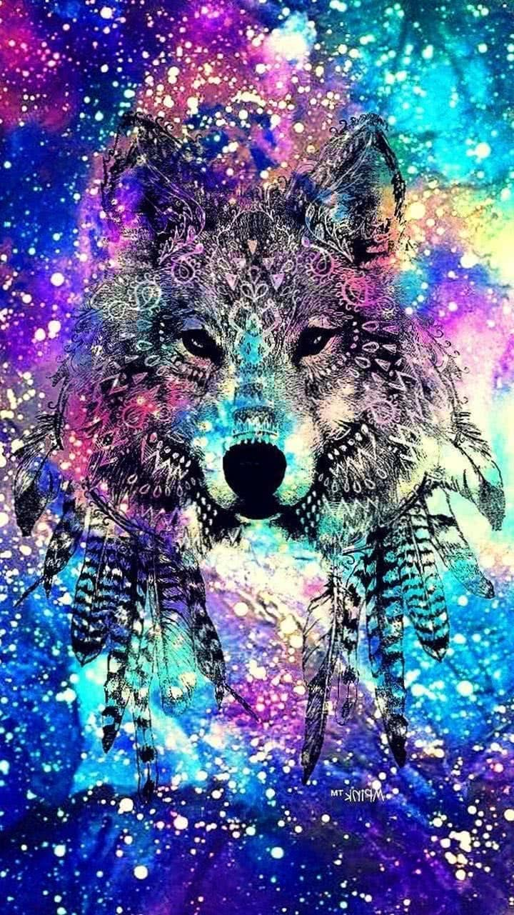 Rainbow Wolf iPhone Wallpapers