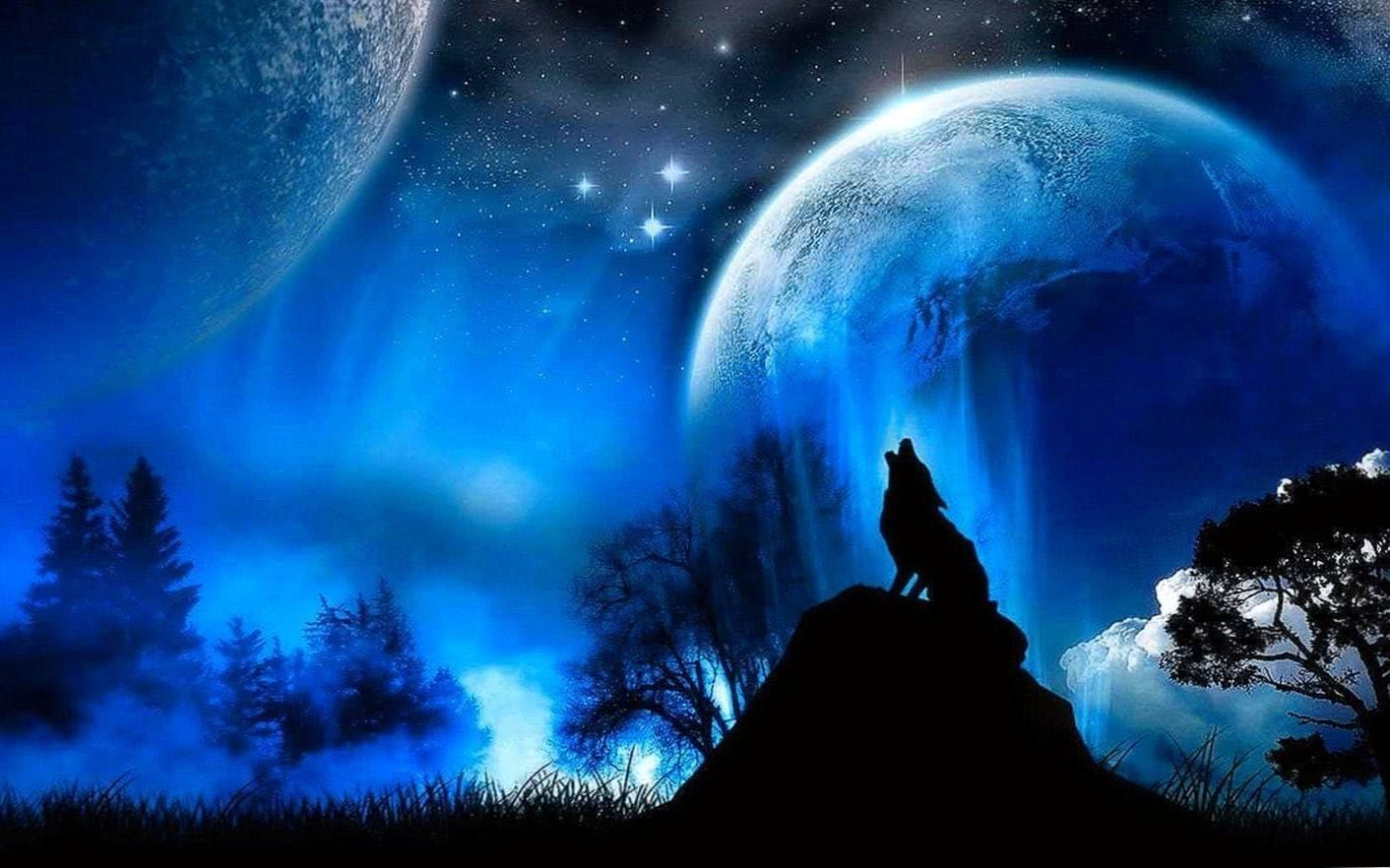 Moon And Wolf Wallpaper