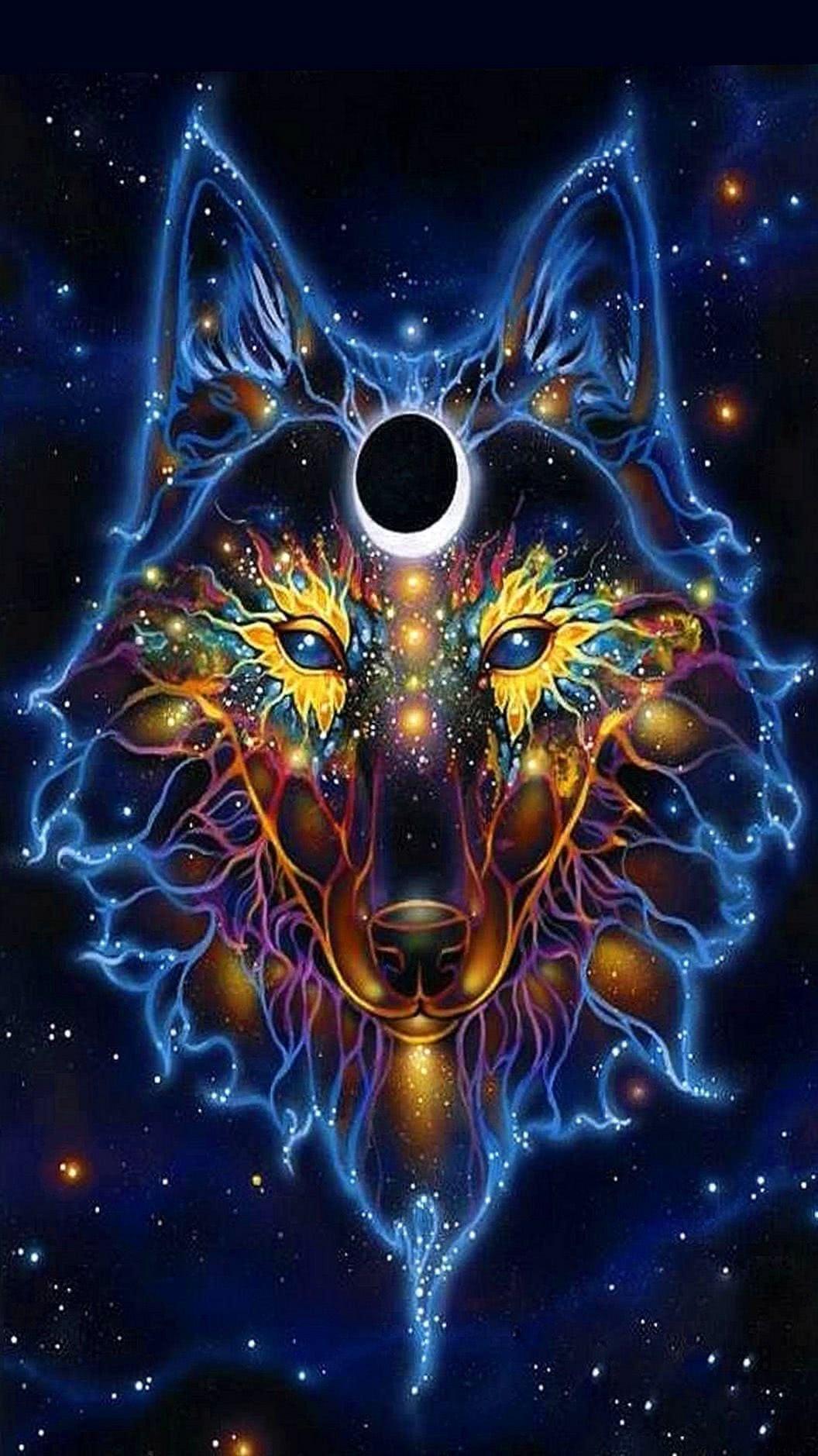 Blue Fire Wolf Wallpaper