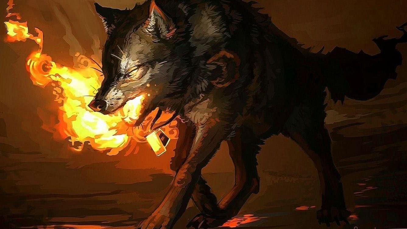 Wallpapers Fire Wolf