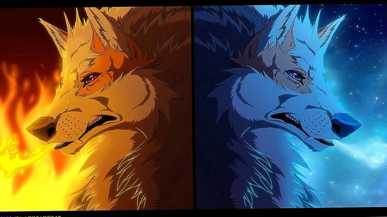 Wolf Fire And Ice Wallpaper