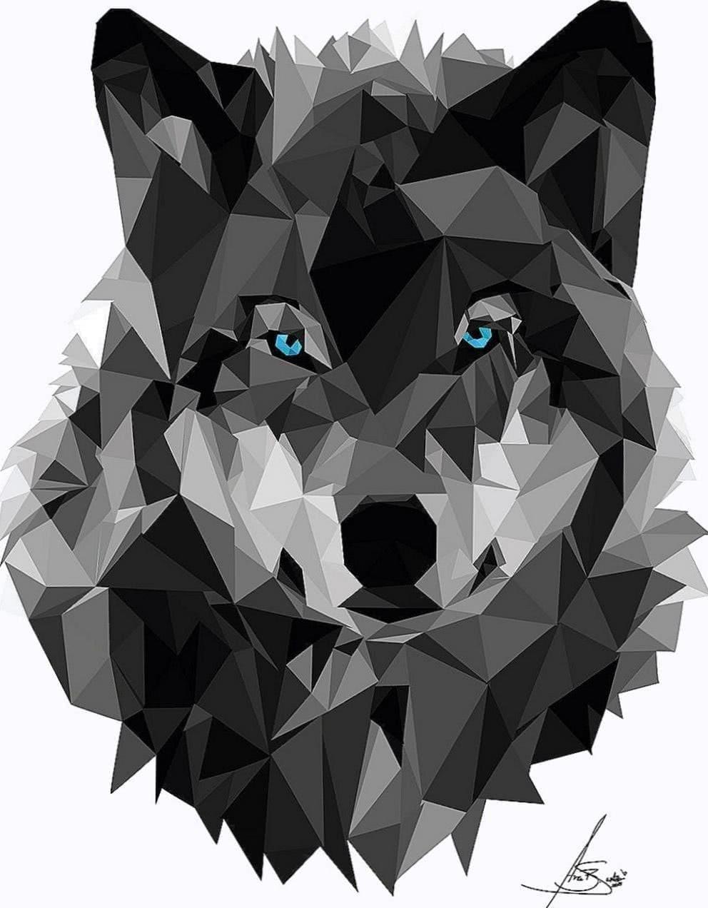 Wallpaper Geometric Wolf