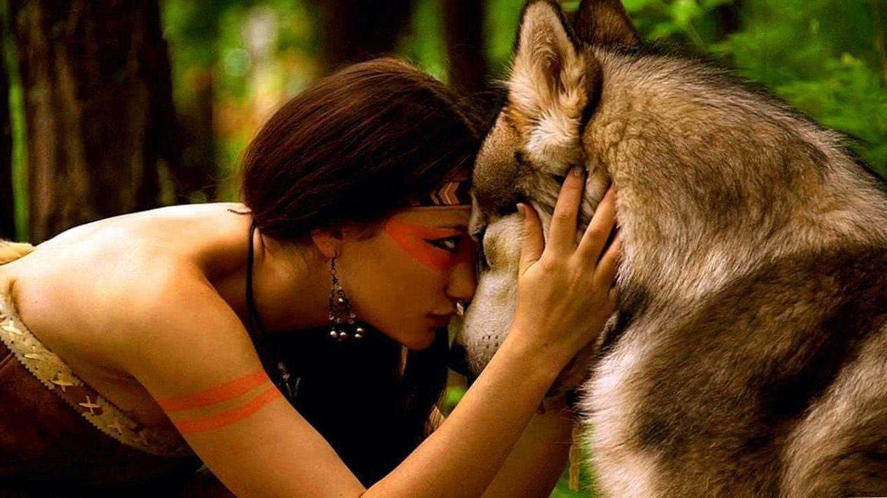Girl With Wolf Wallpaper