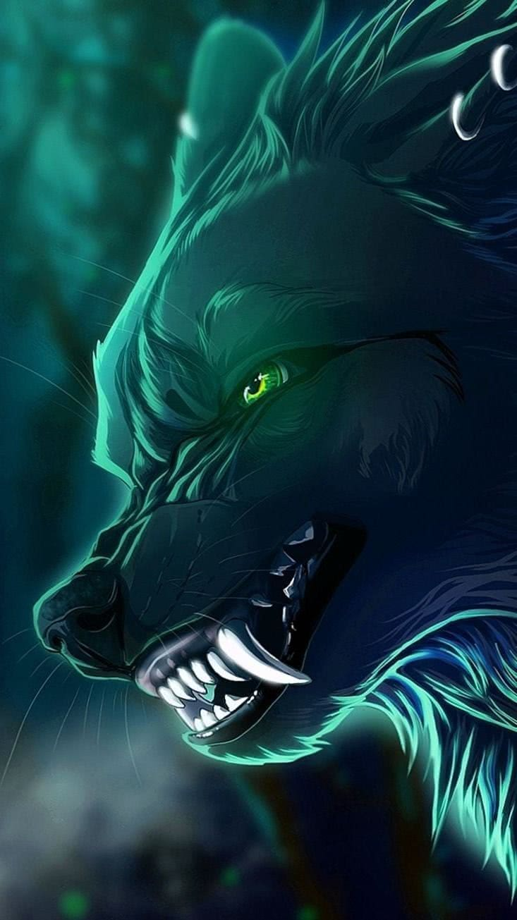 Wallpapers Wolf Green