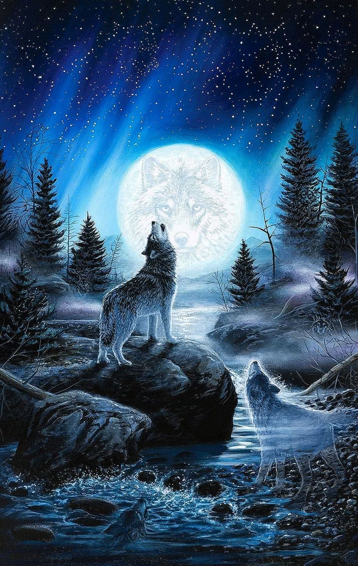 Wolf Howling At The Moon Phone Wallpaper