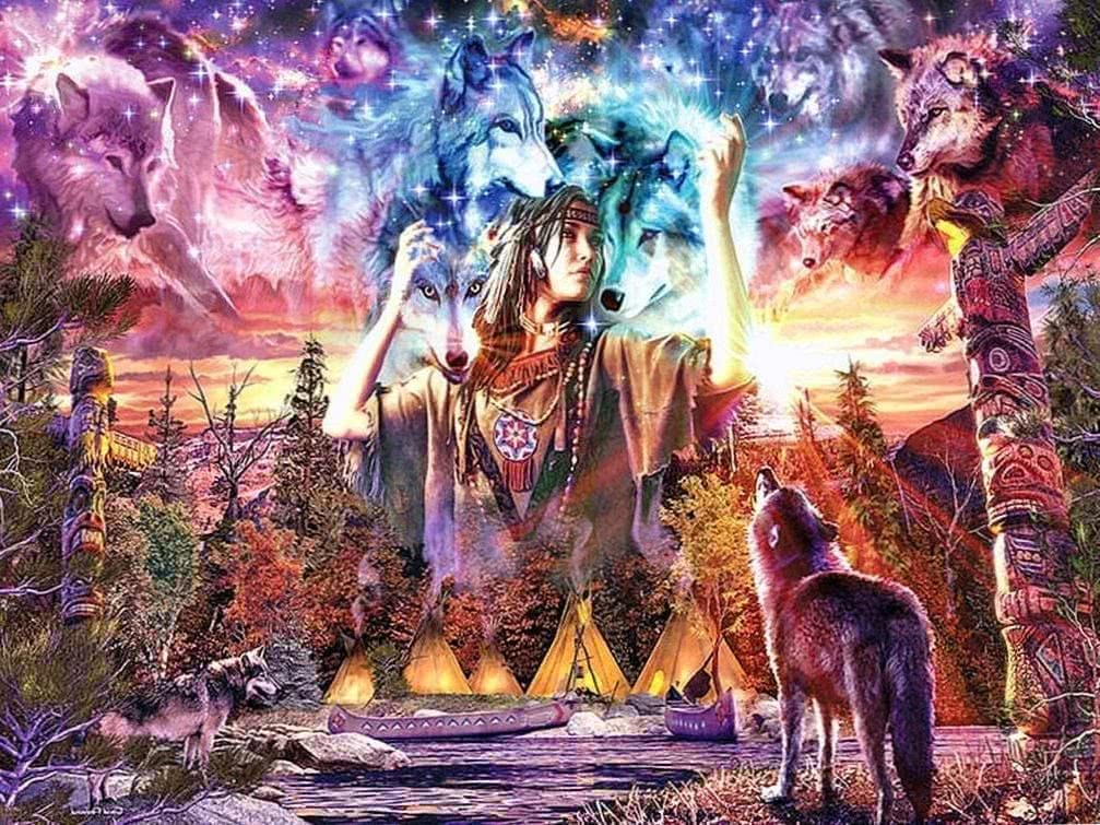 Wolf And Indian Wallpaper