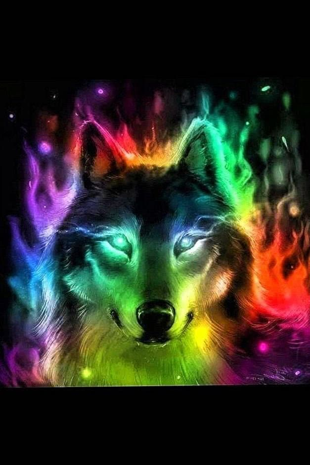 Wolf Howling Rainbow Wallpapers