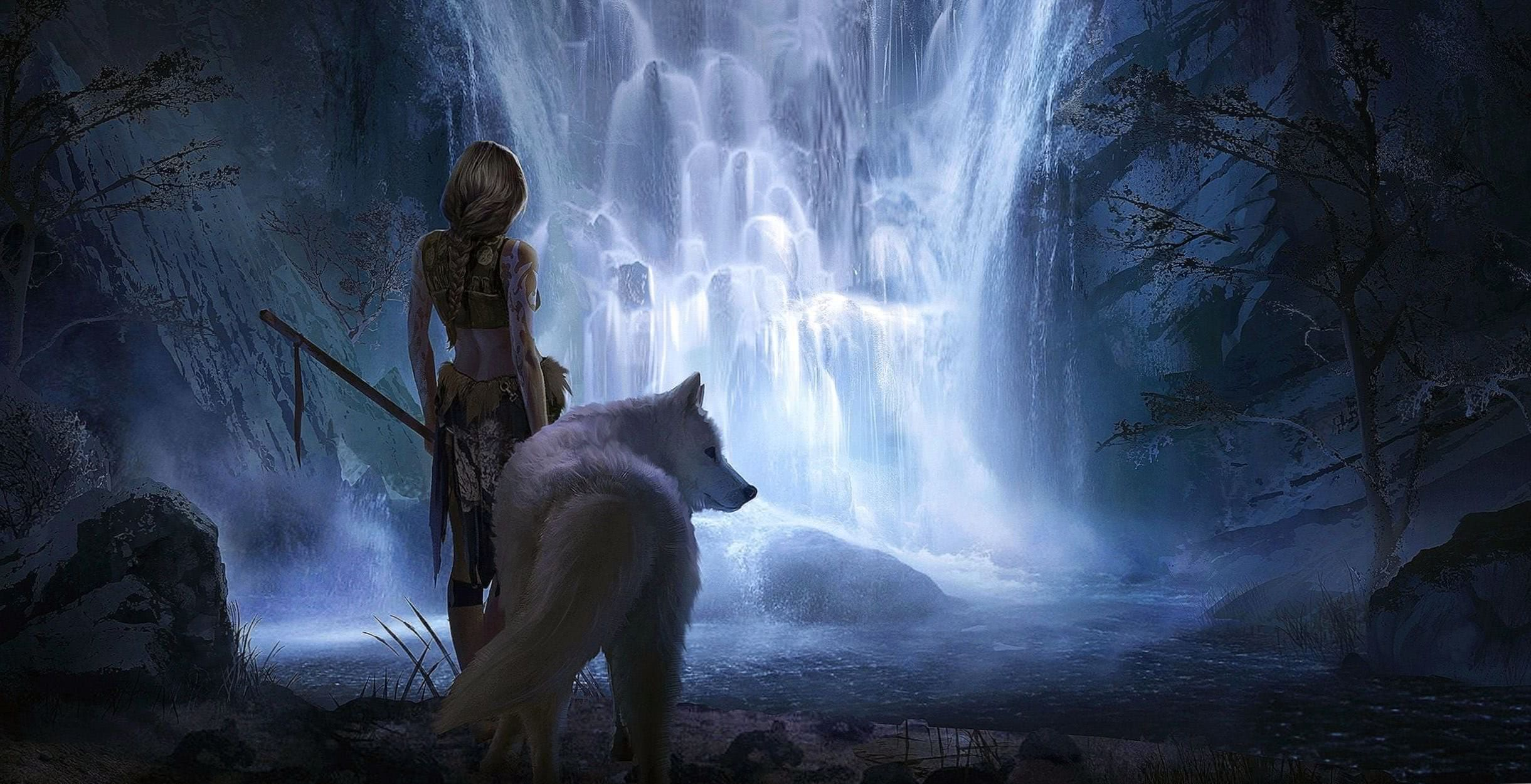 Wallpapers Fantasy Girl And Wolf