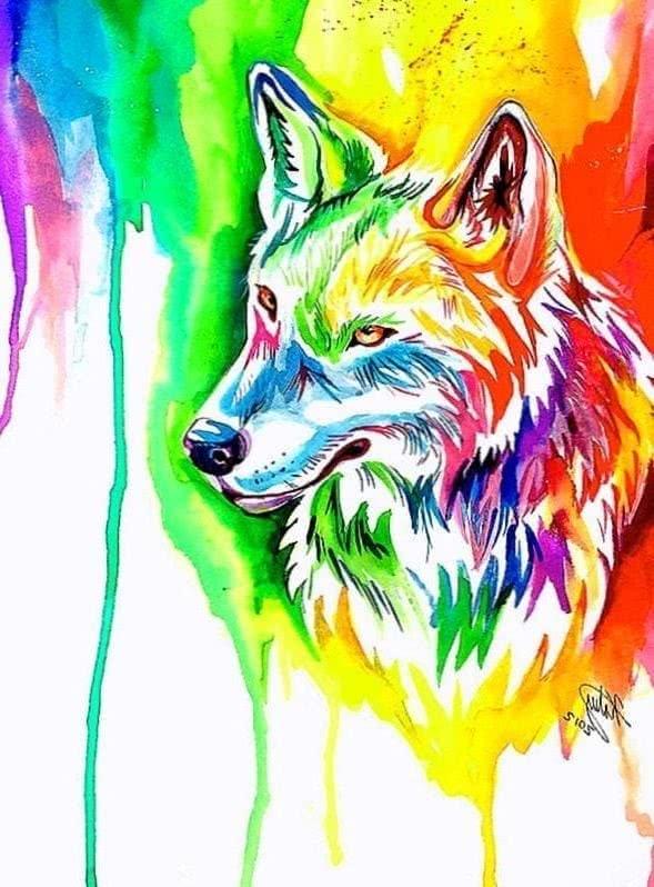 Cool Rainbow Wolf Wallpaper