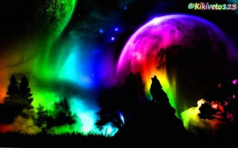 Wolf Howling Rainbow Wallpaper