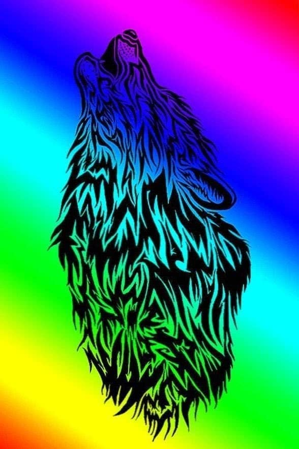 Rainbow Wolf Wallpaper