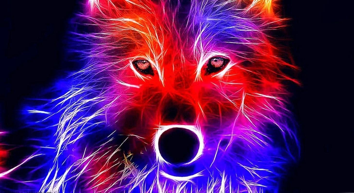 Blue And Red Wolf Wallpaper