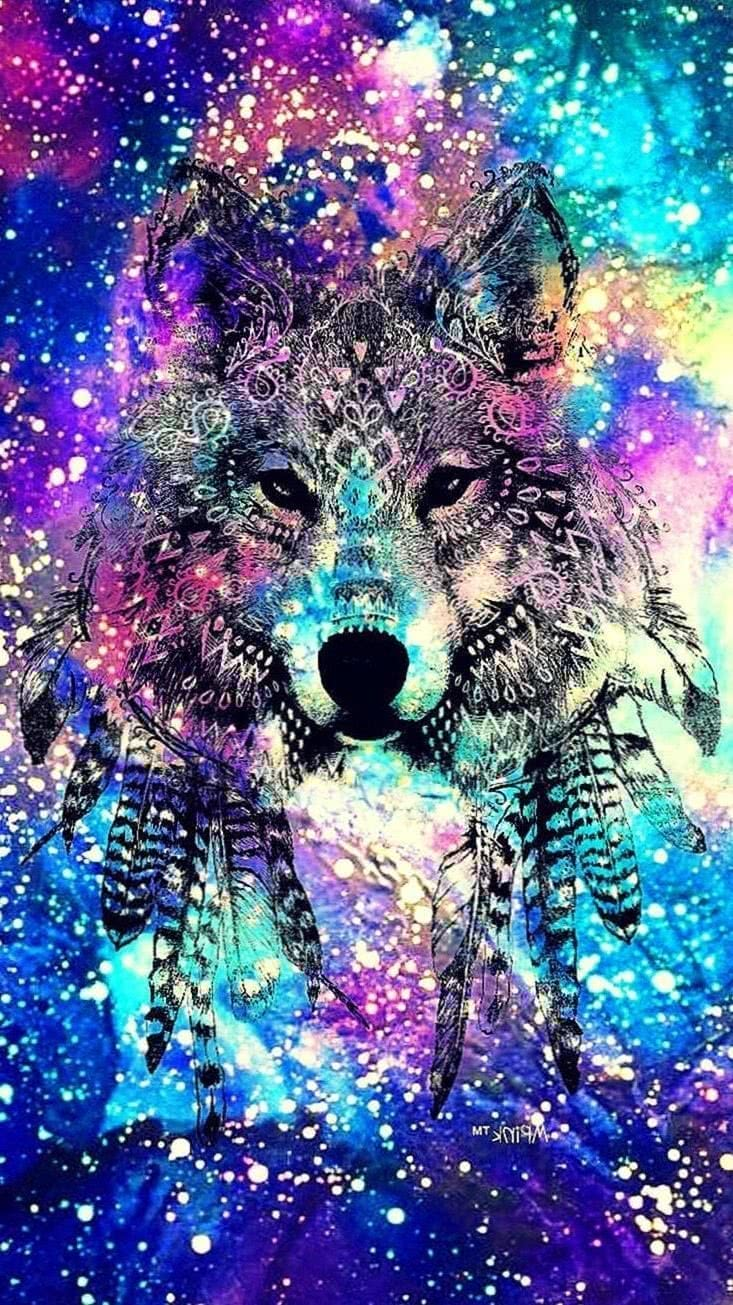 Tribal Wolf Galaxy Wallpapers