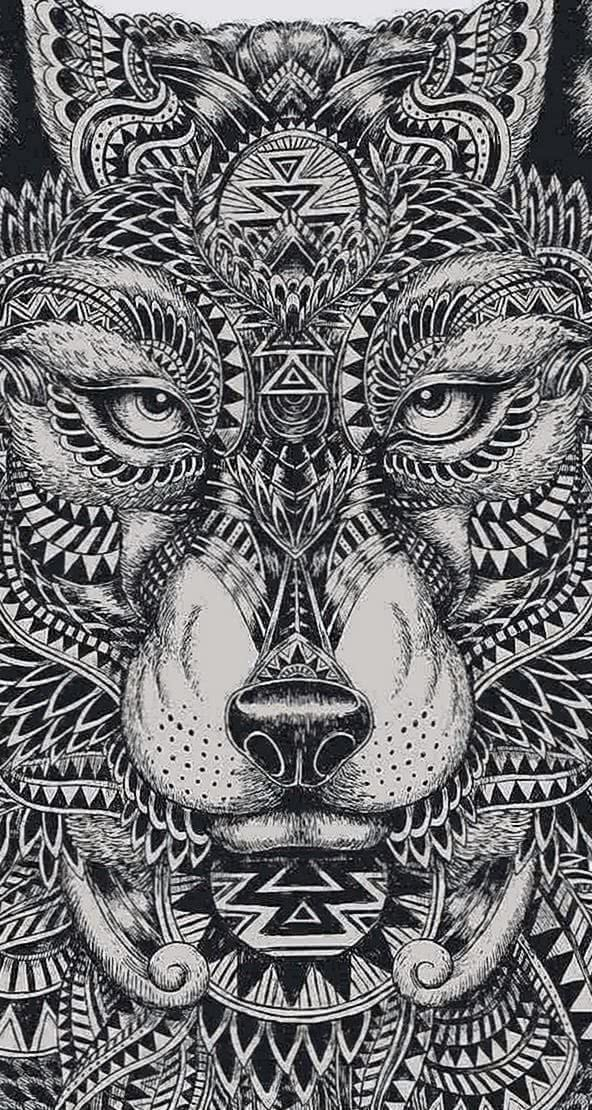 Tribal Wolf Wallpapers Cell Phone