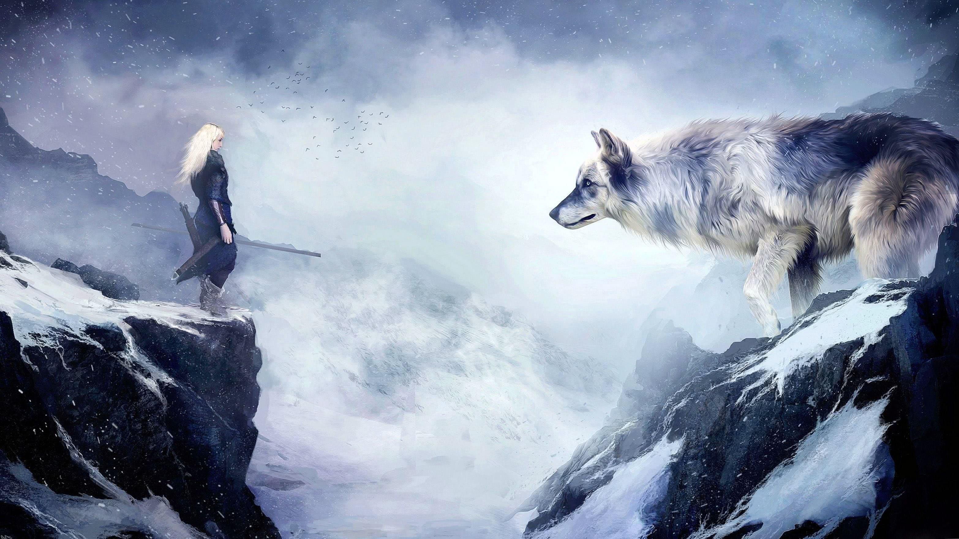 Wolf Drawing Wallpaper 4K