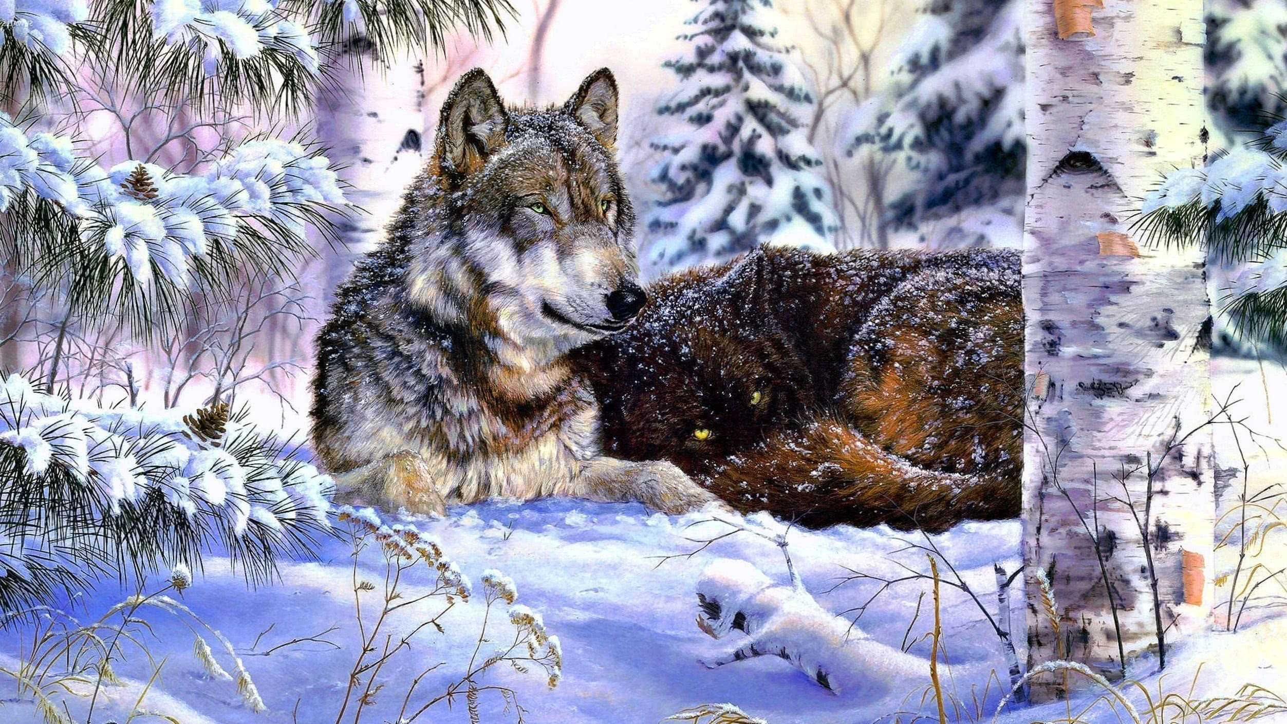 Wolves In Snow Wallpaper