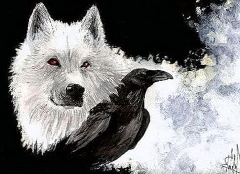 Wallpaper Wolf And Crow