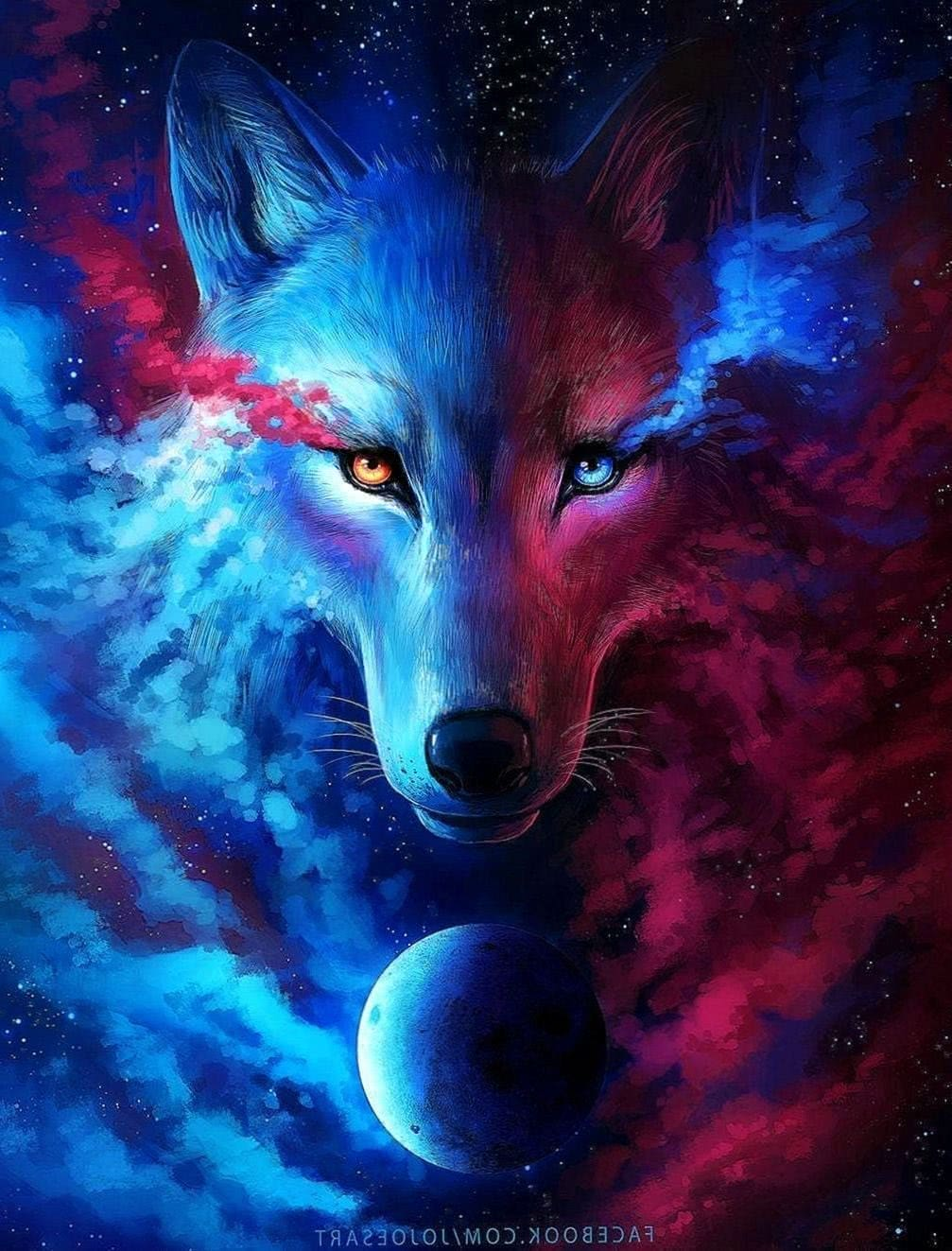 Blue And Red Wolf Wallpapers Wolf Wallpaperspro
