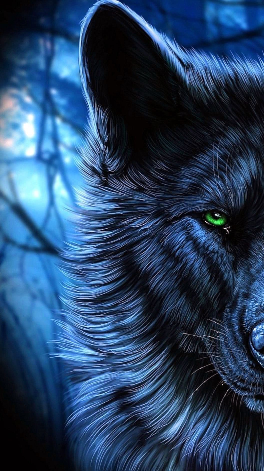 Black Wolf With Blue Eyes Wallpaper