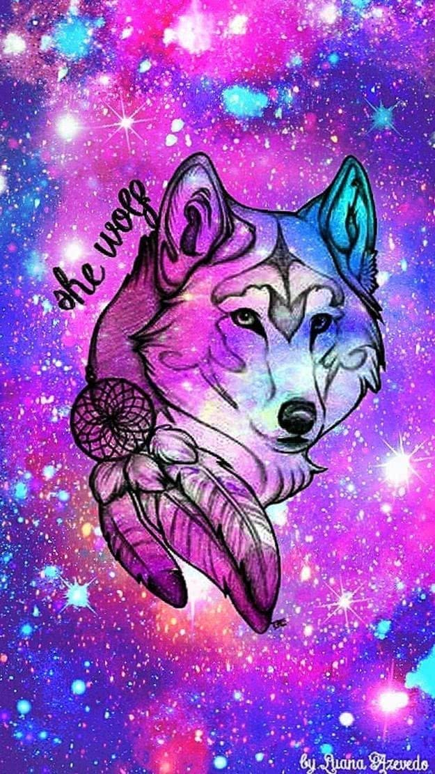 wolf drawing with galaxy background pretty drawings 1 2 wolf wallpapers.pro
