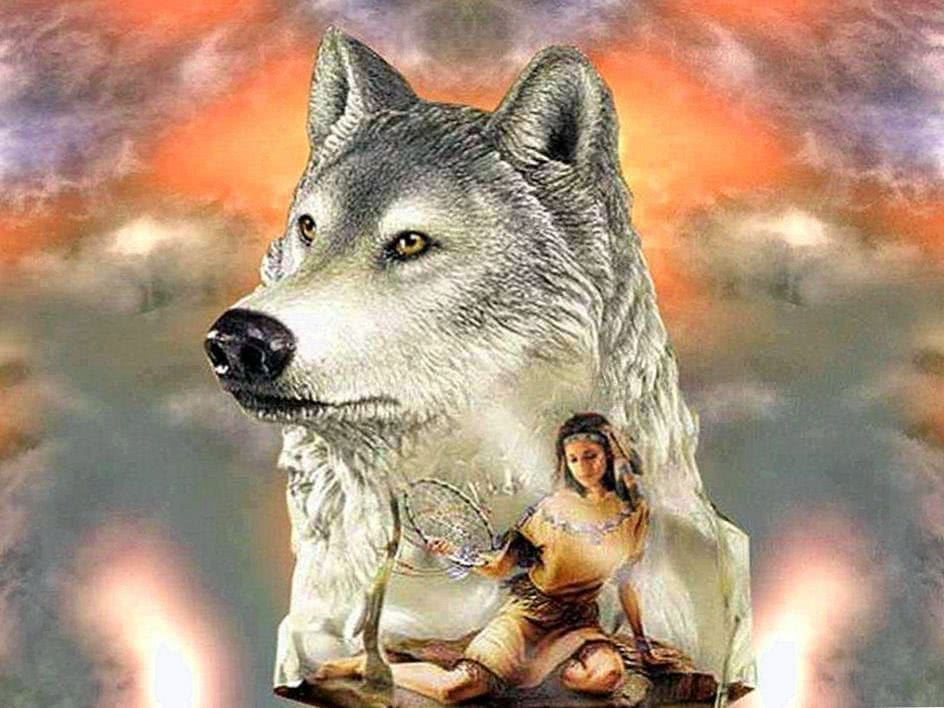 Indian Girl And Wolf Wallpapers