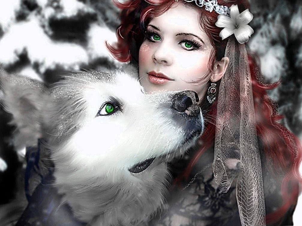 Wolf With Girl Wallpapers