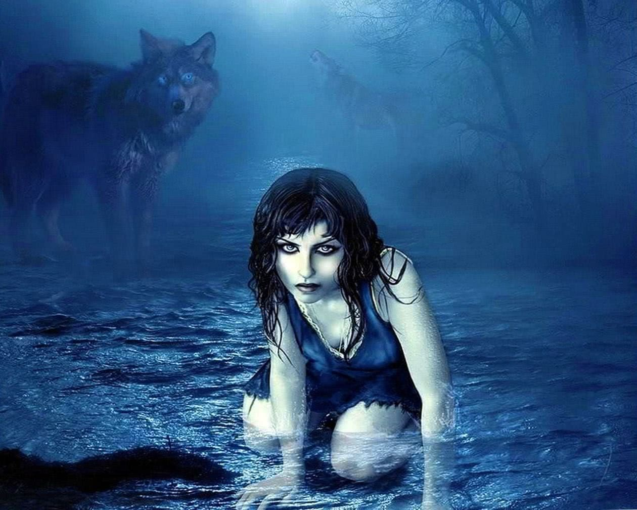 Wolf With Girl Wallpaper