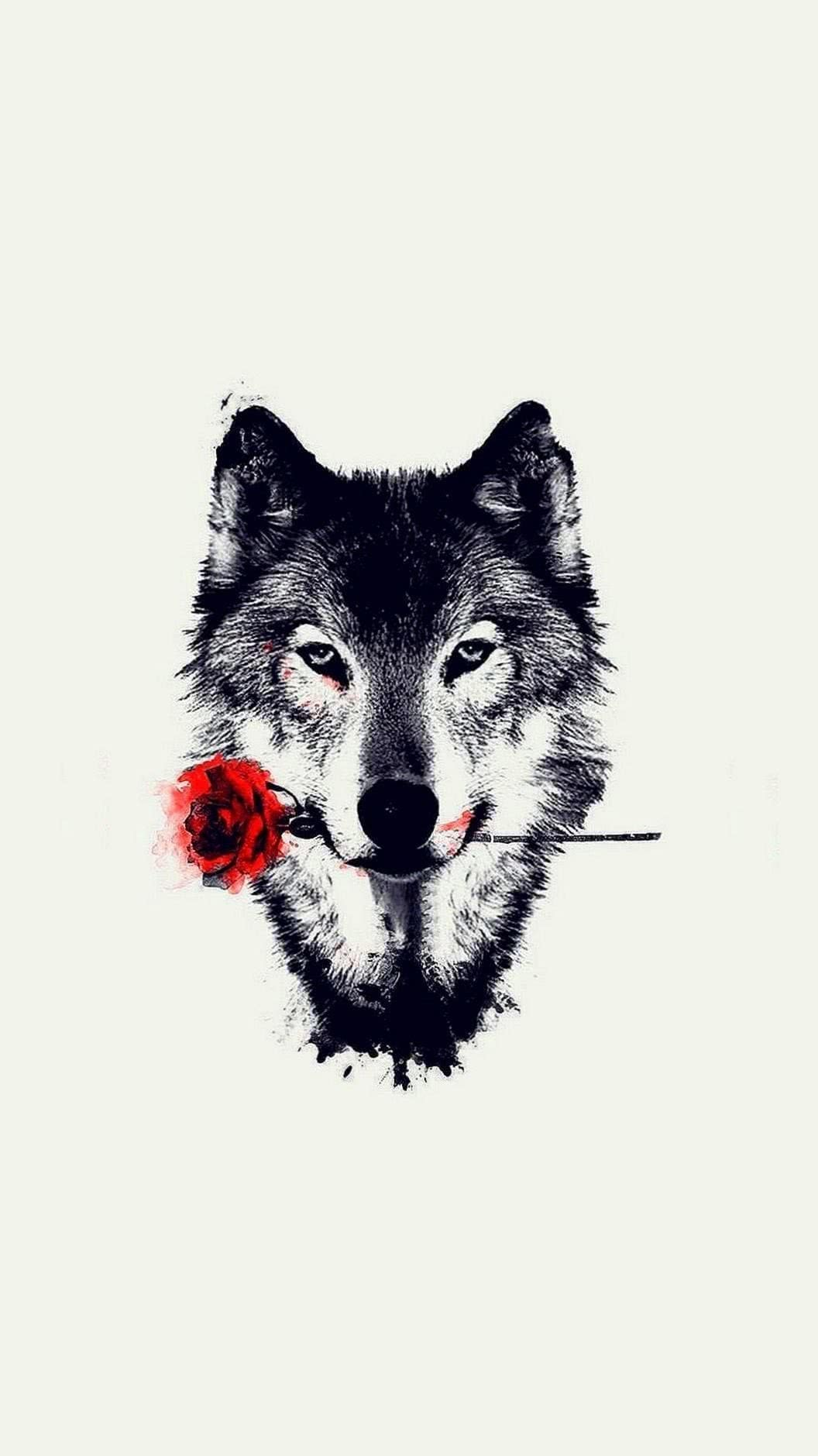 Wolf With Rose Wallpaper