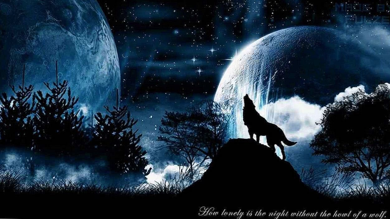 The Wolf And The Moon Wallpaper
