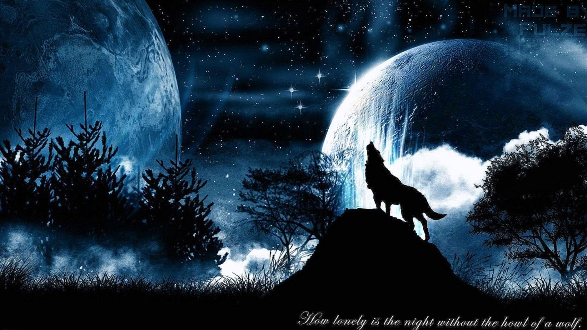 Wolf Howling At The Red Moon Wallpaper